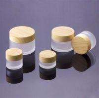 Fosco barato Limpar 5g 10g 15g 30g 50g 100g Esvaziar Cosmetic Jars Maquiagem Face Cream Containers Cuidados com a pele Embalagem Garrafas Com Cap Grão de madeira