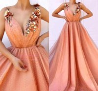 Flowers Orange Evening Dreses 2019 Newest A Line Spaghetti S...