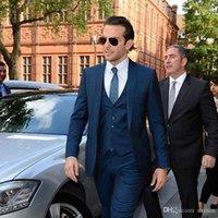 Nach Maß Männer Anzüge für Business-Marine-Blau-Hochzeitsanzüge spitzen Revers Best Man Blazers Jacke 3 Stück Jacke Hosen Weste Bräutigam Tuxed
