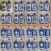 érable Toronto Men leafs Vintage Version jersey de hockey 17 CLARK 93 GILM0UR 14 KEON 31 FUHR 19 BOUDREAU 22 Les maillots WILLIAMS