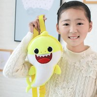 32CM Baby Shark Zaini per bambini Musica Led Borse per la scuola One-Shoulder LightingSinging Backpack Peluche Shinning Red PlushStuffed Toy Nuovo
