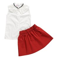 Baby Girl white Ruffle Tops T- shirt & Mini red Skirt Solid C...