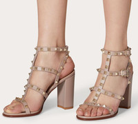 Summer Rock Stud Sandal Chunky Hebs Caged Ankel Strap Women Field Sandalias Strapppy Ladies Siddpy Ladies Sandals