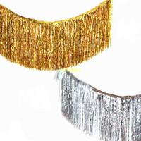 Goldfolie Fringe Vorhang Lametta String Shiny Shimmer Quaste Hochzeitsdekoration Photo Booth Hintergrund 35 * 120 cm