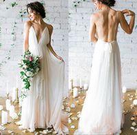 2019 Modest Sexy A linha de vestido de noiva de verão barato Spaghetti Bohemian Beach Backless vestido de noiva Boho Plus Size vestidos
