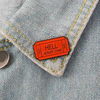 Inferno admitir um 666 esmalte broche inferno bilhete pinos denim roupas bolsa fivela botão crachá gothic punk jóias presente para amigos