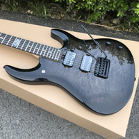 JP6 hombre de la música Ernie Ball JPX John Petrucci Negro guitarra eléctrica de tapa acolchada del arce emparejado cabezal, Hardware Negro, trémolo Colilla