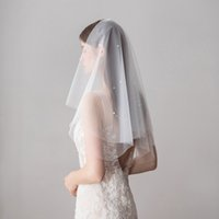 High Quality Bridal Veils With Pearls Cut Edge Elbow Length ...