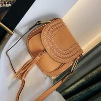 Newset Vintage-Woven-Sattel-Beutel Frauen Handtaschen Portemonnaie Suede Geflochtene Rindlederniet Troddel-Schulter-Beutel Umhängetasche Messenger Tasche