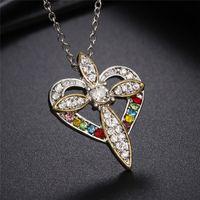 فضة كريستال جوهرة الصليب القلب قلادة الماس قلادة الإكسسوارات عشاق قلادة الذكرى هدية مجوهرات