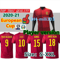 Thail 2020 Espagne Player version Soccer Jersey 20 21 ROMAS PACO ALCACER ASENSIO MORATA CITP INIESTA THIAGO SAUL 2019 2020 Adult Sport Footba
