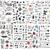 뜨거운 작은 섹시한 입술 잎 검은 만화 임시 문신 귀여운 스타 문신 스티커 사랑 여성의 신체 손가락 예술 방수 문신 아이 D19011202