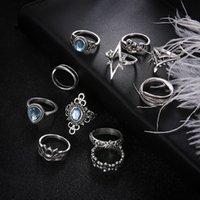 Folha Boho Anéis Midi Jóias Gypsy Jewely Set 10 pçs / lote Crystal Color Geometric Silver Knuckle Popng