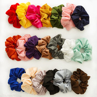 Women Girls Solid Sweet Chiffon Scrunchies Elastic Ring Hair...