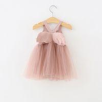 Kızlar Çocuklar Giysi Tasarımcısı elbise Yaz Açı Kanat Mesh Askı elbise Lolita kızlar elbiseler