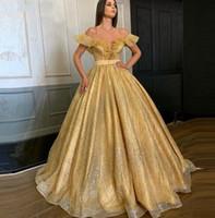 Bling Bling Oro vestidos formales vestido de noche 2020 bata de pelota fuera hombros más el tamaño del corsé barato largo del partido de Quinceanera vestido del desfile