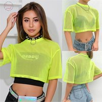 Bright Green Netzs Crop Top Sommer-Ineinander greifen See Through Tank Top Women Fashion Femme Tops geerntete losen Hemd Weibliche Clubwear S L