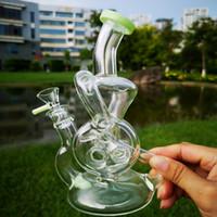 9 pouces Double recycleur Dab Rig Torus verre Bongs fendus Donut Percolateur verre Bong Bong Beaker 14mm Glass Bowl XL-324