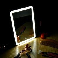 Led Vanidad pantalla táctil del maquillaje del espejo de cortesía Luces de aumento de 180 grados de rotación Tabla mostrador de cosméticos Espejo de baño
