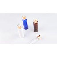 Leeren Runde farbige Flüssigseife Kosmetische Flasche 150ml Kunststoffbehälter mit Gold Aluminium Disc Cap Metallkappe PET