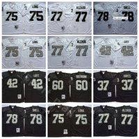 NCAA Football 75 Howie Long Jersey 37 Lester Hayes 42 Ronnie Lott 77 Lyle Alzado 78 Art Shell Bo Jackson Man Vintage أسود أبيض