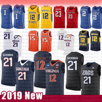 12 De'andre Hunter 21 Rui Hachimura NCAA 대학 농구 유니폼 곤잘레스 불독 버지니아 Cavaliers Carmelo Anthony 15 Syracuse 유니폼