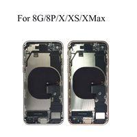 Flex Kablo ile Arka Kapak İçin iphone 8g 8 artı x Xs Max Geri Orta Çerçeve Şasi Tam Konut Montaj Pil Kapağı Kapı Arka