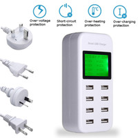 Smart USB Charger HUB 8A Travel Charger with LCD Display 8 U...
