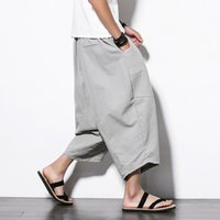 Crazy2019 Summer Man Cotton Wide Leg Thaïlande codera Sandy Bloomers Nine Part Pants de Sandy Beach