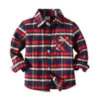 Cute Boys Gentleman Camicie Tees Classic Plaid Stripes Top Western Fashion Vintage Spring Autumn Party Blouse