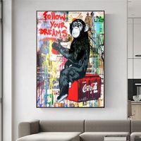 Wall Street Art Banksy Graffiti Leinwand Paintings Hauptdekor Dekoration Handbemalte HD-Druck-Ölgemälde auf Leinwand-Wand-Kunst-Bilder