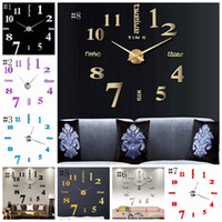 Relojes de pared 3D Real reloj de pared grande bricolaje apresurado etiqueta de la pared de espejo navidad salón decoración para el hogar 8 colores DSL-YW1605
