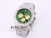 En Yeni Stil Yeşil Top İzle 41mm Orologio Di Lusso Royal Oak saatı 26338 26338PT VK Quartz Chronograph Paslanmaz Çelik Erkek Saatler