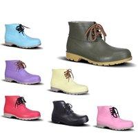 Hotsale PVC Rain Boots Basso Lavoro Assicurazione del lavoro in acciaio Cap Berretto nero giallo rosa rosso viola scuro verde scarpe da uomo 38-44