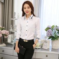 2019 sonbahar yeni Han Fan beyaz gömlek kadın İnce vahşi ince profesyonel gömlek tulum elbise uzun kollu