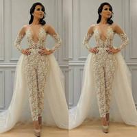 겸손 탈착식 스커트 Jumpsuit 웨딩 드레스 신부 가운 2021 레이스 아플리케 긴 소매 우아한 바지 슈트 여성용 Vestidos