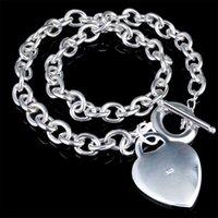 925 Forma Stamped Coração Colar Marcas Sterling Silver Fazer a ligação Colar de cadeia por Mulheres Moda Feminina Designer Colares do presente da jóia