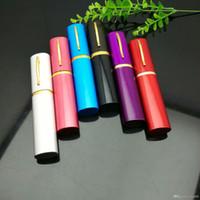 여러 가지 빛깔 미니 휴대용 펜 타입의 담배 주전자 유리 기억 만 석유 버너 파이프 물 파이프 석유 굴착 무료 배송 흡연
