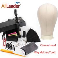 AliLaader a buon mercato 21-24 pollici Blocco di tela Manichino testa per parrucca che fa utensile utensile parrucca a cupola testa spandex cap dei capelli umani