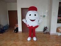Profissional personalizado chapéu vermelho ovo branco traje da mascote dos desenhos animados casca de ovo personagem roupas festival de Halloween festa extravagante vestido