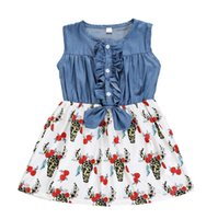 NEW COW PRINT Baby Girl Denim Dress Kids Princess Flower Clo...