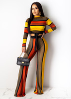 Striped Womens Two Piece Pants Long Sleeve Long Pants Casual...