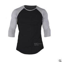 2019 Nueva moda de alta elasticidad Sporting T-shirt hombres 7 puntos de manga larga Fitness T shirt Gimnasios para hombres Culturismo T-shirt