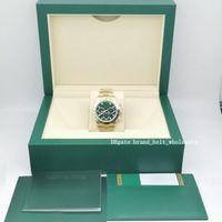 Üst Kutu + 40mm Asya 2813 Hiçbir Cosmograph 116508 Altın Yeşil Arama Kutusu ve Kağıt 2020 Safir Cam Otomatik Erkek İzle Saatler