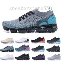Nike Vapormax Flyknit air max Hot Chaussures Moc 2 laceless 2,0 calçados casuais Triplo Homens Mulheres Sneakers Fly preto malha almofada Sports Air Trainers Zapatos HJ954