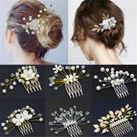 Joyería nupcial de la boda del peine del pelo de la flor del Rhinestone Tiaras Accesorios para el cabello espumosos novia peina tocados de 9 estilos
