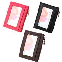 Malote de cartão de couro genuíno de luxo, bolso frontal carteiras Slim com 1 ID janela, 4 slots de cartão e uma bolsa de moeda
