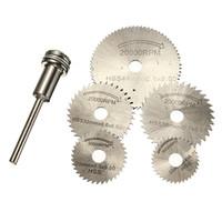 6 teile / satz Mini HSS Kreissägeblätter Drehwerkzeug Für Dremel Metall Cutter Handwerkzeug Set Schneiden Diamantscheiben Dorn