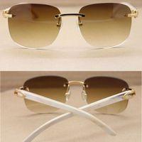العلامة التجارية نظارات شمسية رجالي الأبيض بافالو القرن النظارات الشمسية النظارات الشمسية أزياء الطبيعة الحقيقية بدون شفة القرن النظارات النظارات مع القضية