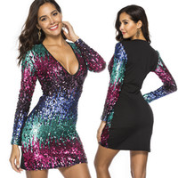 Sexy Hot Colorful Shiny brevi abiti da festa con maniche lunghe paillettes Night Club Women Dress V Neck FZ-054